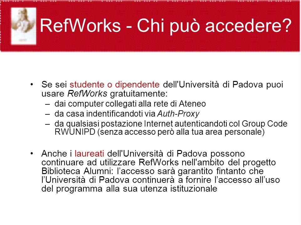 RefWorks - Chi può accedere.