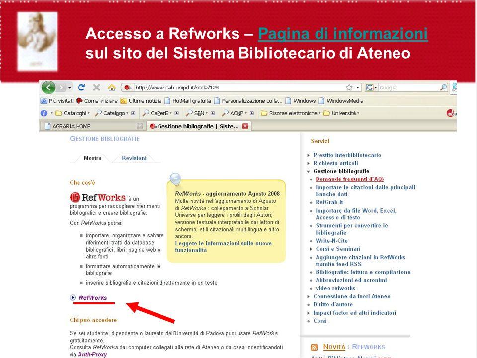 Accesso a Refworks – Pagina di informazioni sul sito del Sistema Bibliotecario di AteneoPagina di informazioni