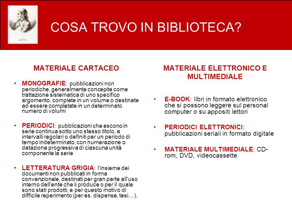 COSA TROVO IN BIBLIOTECA? MATERIALE CARTACEO MONOGRAFIE : pubblicazioni non periodiche, generalmente concepite come trattazione sistematica di uno spe