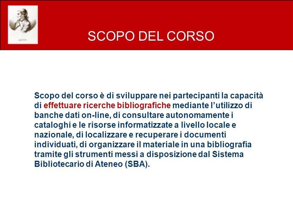 PROGRAMMA DEL CORSO Prima parte Siti web della biblioteca e del Sistema bibliotecario di Ateneo.