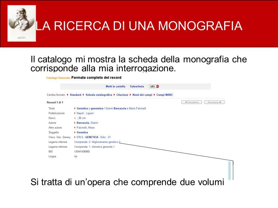 LA RICERCA DI UNA MONOGRAFIA Il catalogo mi mostra la scheda della monografia che corrisponde alla mia interrogazione. Si tratta di unopera che compre