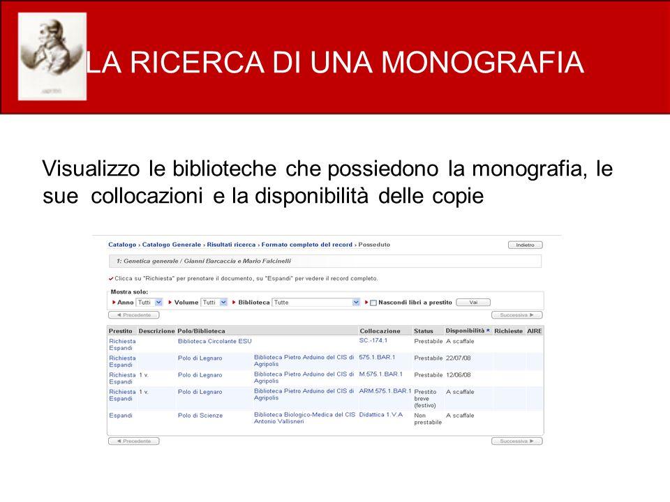 LA RICERCA DI UNA MONOGRAFIA Visualizzo le biblioteche che possiedono la monografia, le sue collocazioni e la disponibilità delle copie