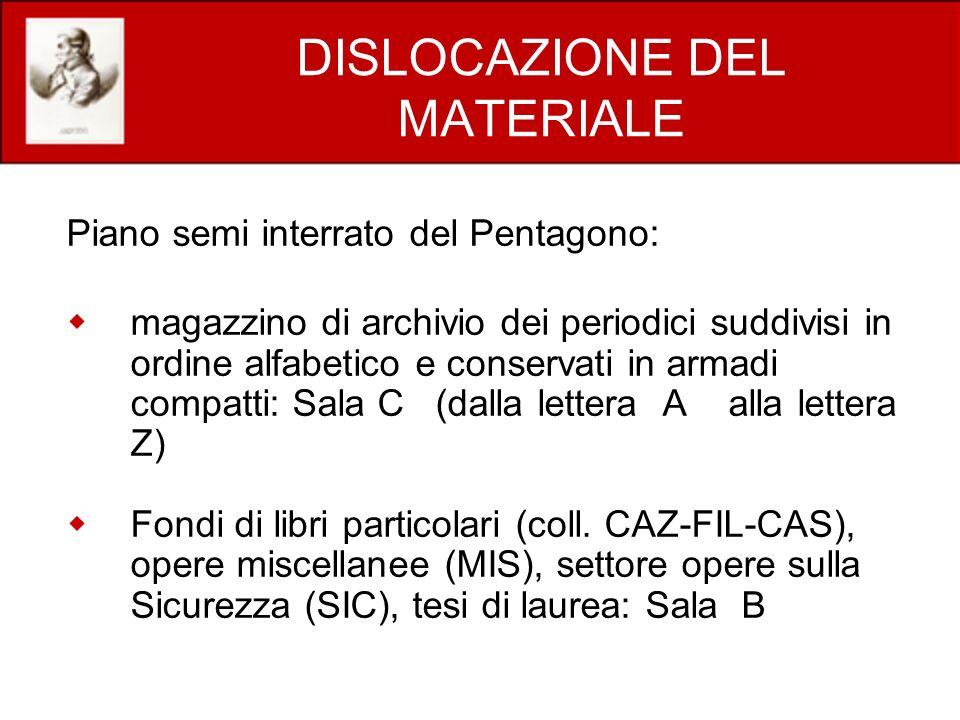 DISLOCAZIONE DEL MATERIALE Piano semi interrato del Pentagono: magazzino di archivio dei periodici suddivisi in ordine alfabetico e conservati in arma