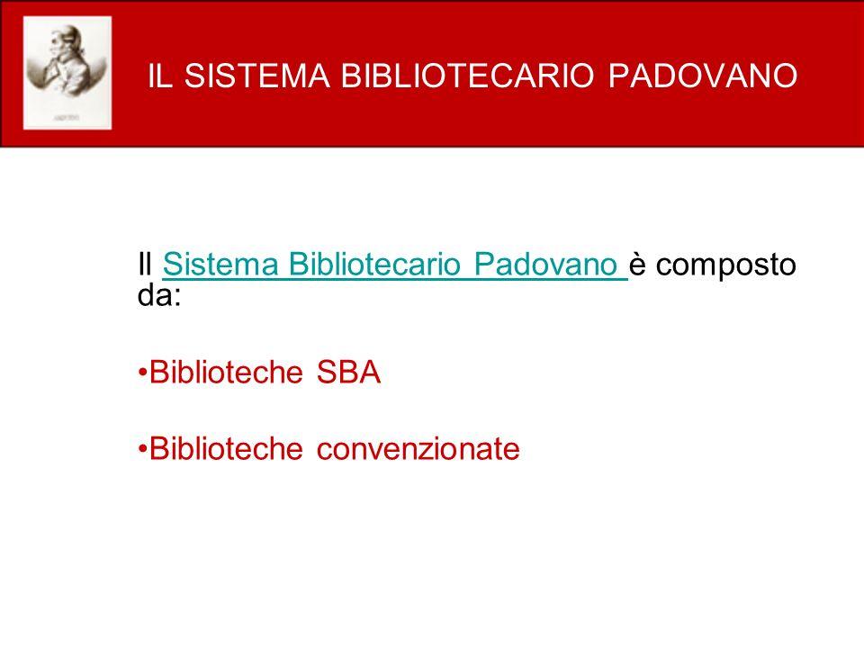 IL SISTEMA BIBLIOTECARIO PADOVANO Il Sistema Bibliotecario Padovano è composto da:Sistema Bibliotecario Padovano Biblioteche SBA Biblioteche convenzio