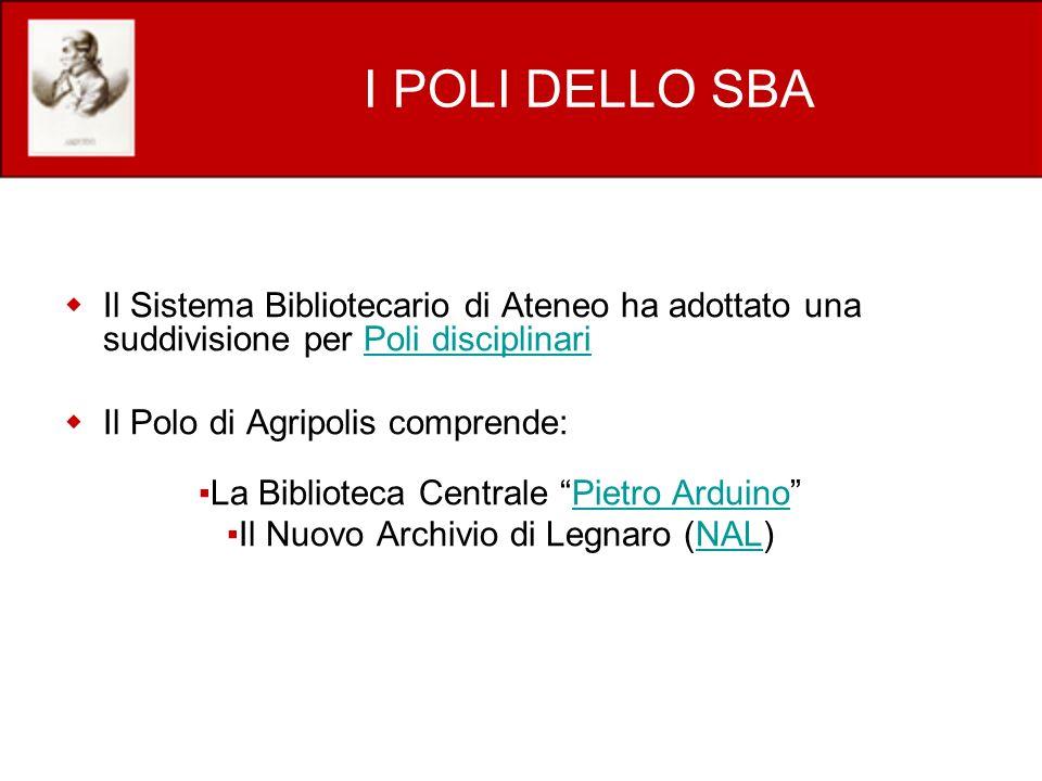 I POLI DELLO SBA Il Sistema Bibliotecario di Ateneo ha adottato una suddivisione per Poli disciplinariPoli disciplinari Il Polo di Agripolis comprende