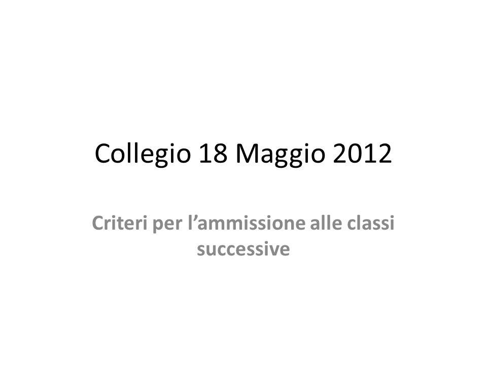 Collegio 18 Maggio 2012 Criteri per lammissione alle classi successive