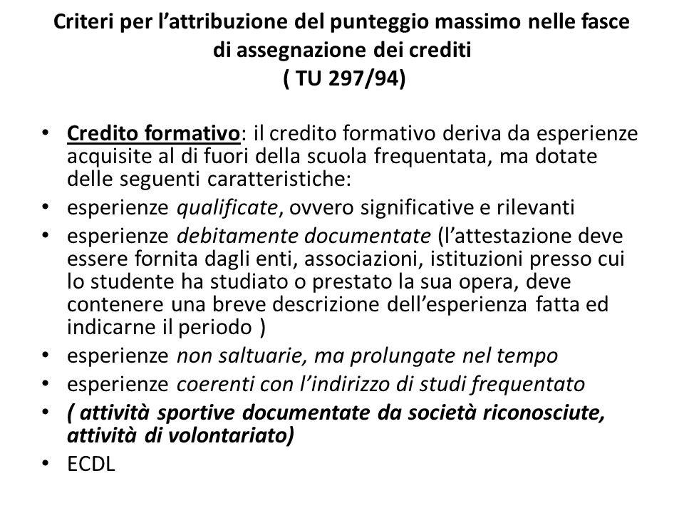 Criteri per lattribuzione del punteggio massimo nelle fasce di assegnazione dei crediti ( TU 297/94) Credito formativo: il credito formativo deriva da