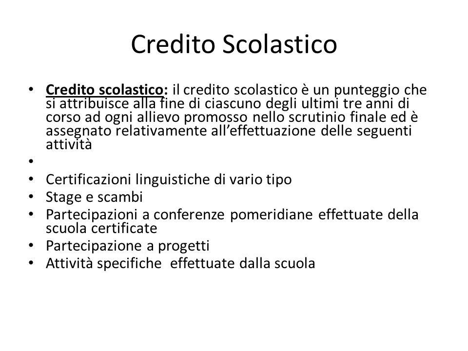 Credito Scolastico Credito scolastico: il credito scolastico è un punteggio che si attribuisce alla fine di ciascuno degli ultimi tre anni di corso ad