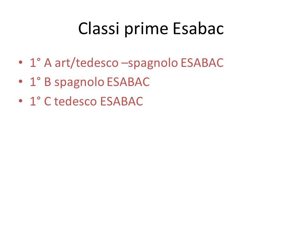 Classi prime Esabac 1° A art/tedesco –spagnolo ESABAC 1° B spagnolo ESABAC 1° C tedesco ESABAC