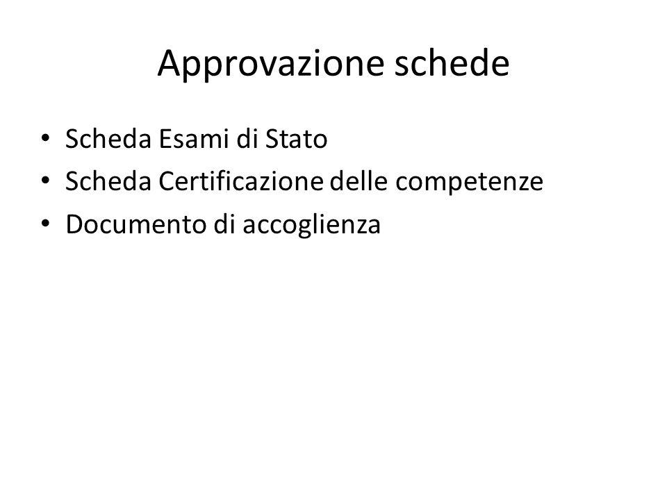 Approvazione schede Scheda Esami di Stato Scheda Certificazione delle competenze Documento di accoglienza