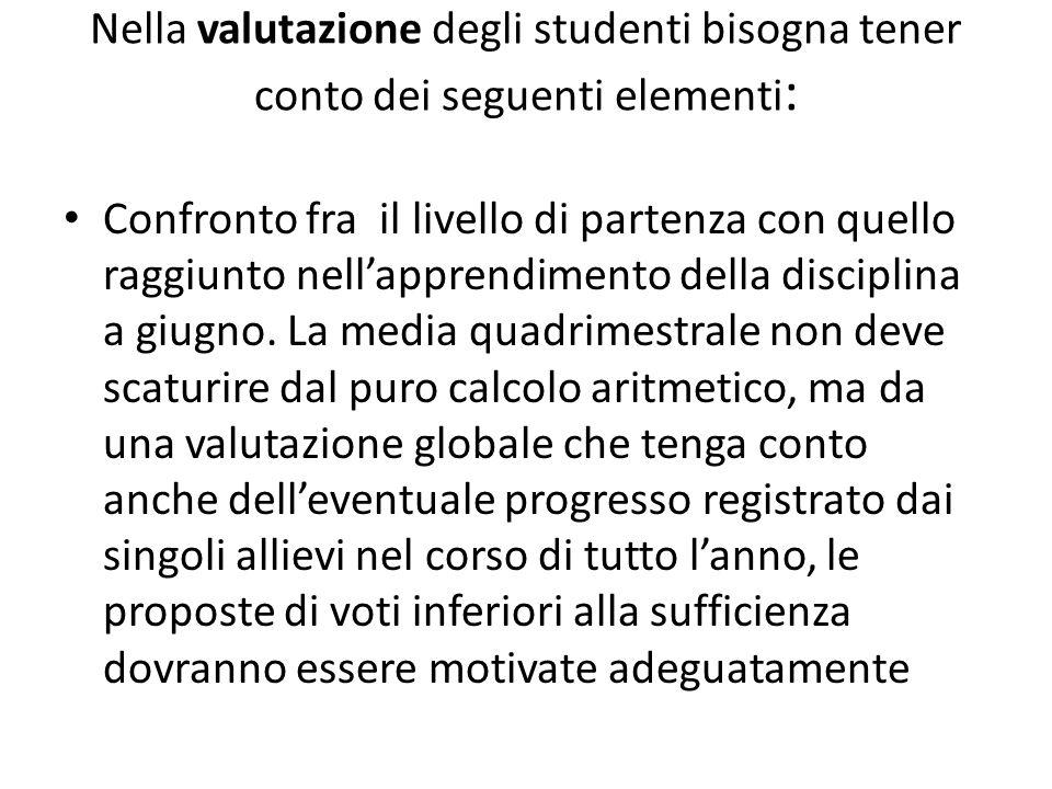 Nella valutazione degli studenti bisogna tener conto dei seguenti elementi : Confronto fra il livello di partenza con quello raggiunto nellapprendimen
