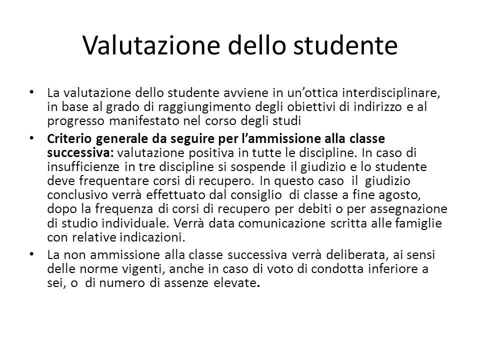 Valutazione dello studente La valutazione dello studente avviene in unottica interdisciplinare, in base al grado di raggiungimento degli obiettivi di