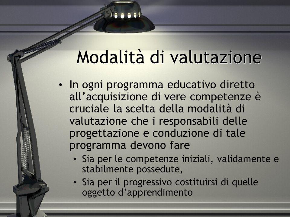 Modalità di valutazione In ogni programma educativo diretto allacquisizione di vere competenze è cruciale la scelta della modalità di valutazione che