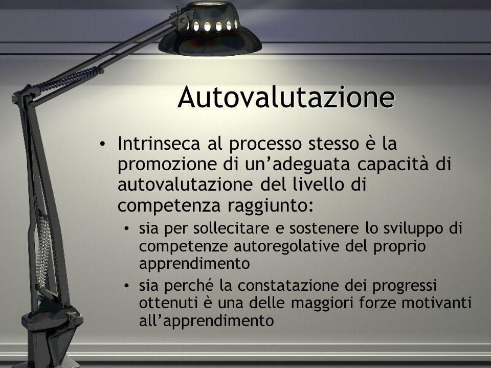 Autovalutazione Intrinseca al processo stesso è la promozione di unadeguata capacità di autovalutazione del livello di competenza raggiunto: sia per s