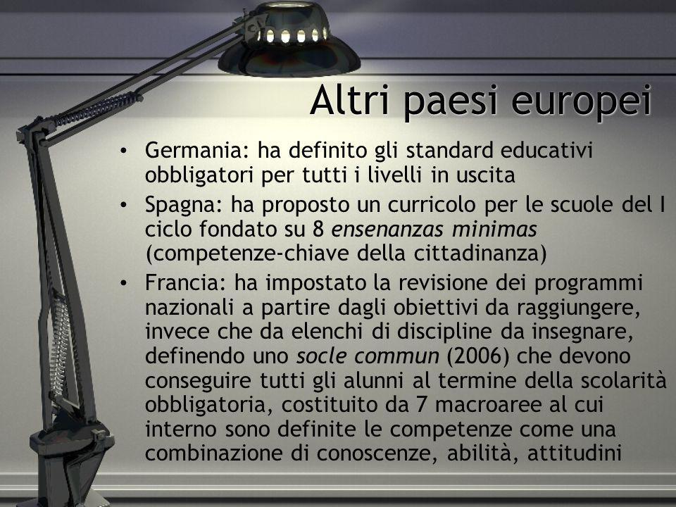 Altri paesi europei Germania: ha definito gli standard educativi obbligatori per tutti i livelli in uscita Spagna: ha proposto un curricolo per le scu
