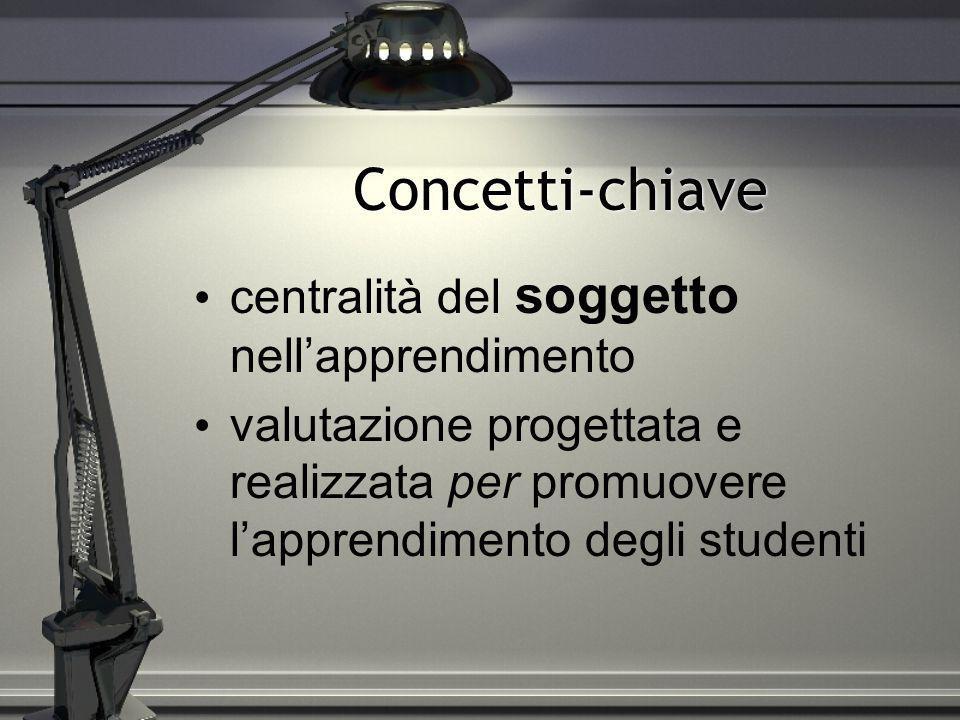 Concetti-chiave centralità del soggetto nellapprendimento valutazione progettata e realizzata per promuovere lapprendimento degli studenti