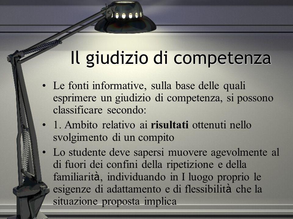 Il giudizio di competenza Le fonti informative, sulla base delle quali esprimere un giudizio di competenza, si possono classificare secondo: 1. Ambito