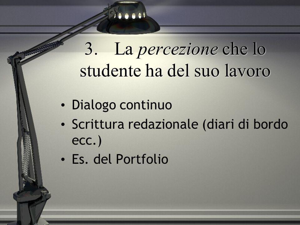 3.La percezione che lo studente ha del suo lavoro Dialogo continuo Scrittura redazionale (diari di bordo ecc.) Es. del Portfolio