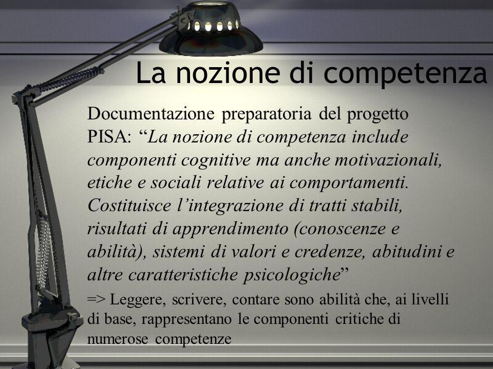 La nozione di competenza Documentazione preparatoria del progetto PISA: La nozione di competenza include componenti cognitive ma anche motivazionali,