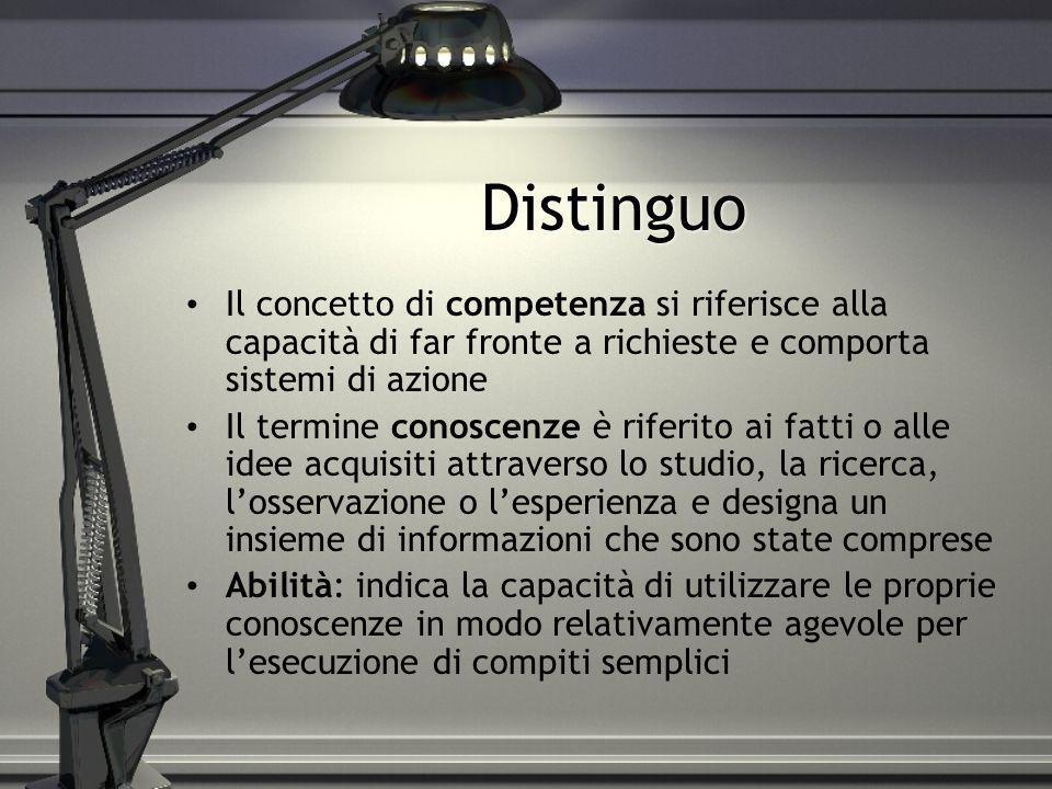 Distinguo Il concetto di competenza si riferisce alla capacità di far fronte a richieste e comporta sistemi di azione Il termine conoscenze è riferito