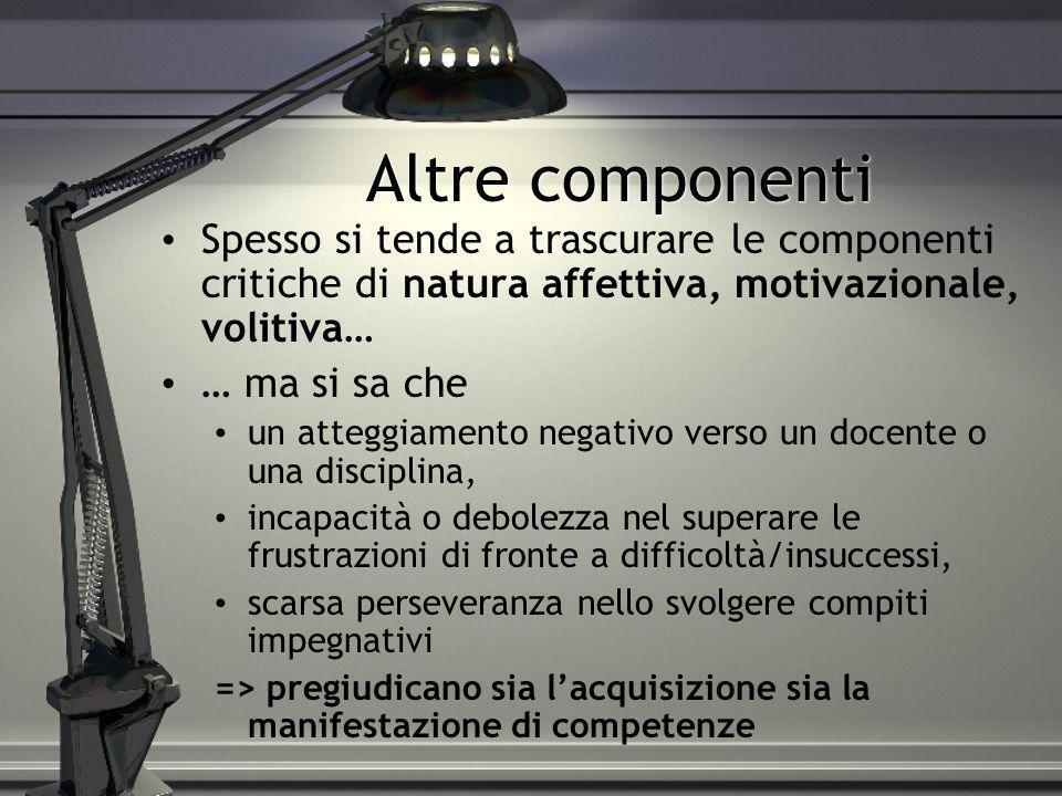Altre componenti Spesso si tende a trascurare le componenti critiche di natura affettiva, motivazionale, volitiva… … ma si sa che un atteggiamento neg