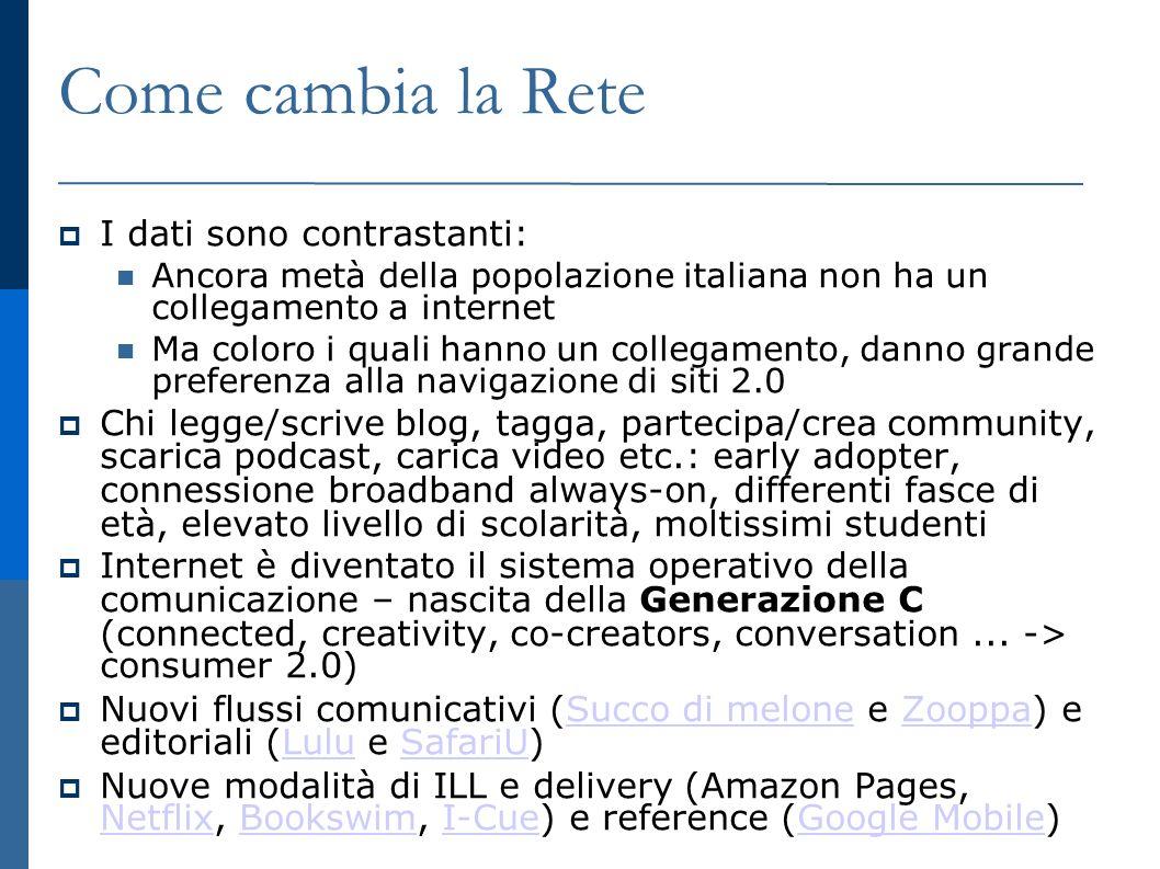 Esempi di mashup per le biblioteche e i bibliotecari Library 2.0 su Pipes - informazioni dai feed dei più importanti siti di social tagging sulla L2.0 Library 2.0 su Pipes GoGoGoogle – gadget per le biblioteche (via Google Gadget e PatREST) GoGoGoogle Biblioteche su Google Maps by LibSiteLibSite Libraries411 - localizzatore di biblioteche attraverso Google/Yahoo Maps Libraries411 Summa - meta-opac che cerca record MARC dal catalogo di biblioteca, recensioni e copertine da Amazon, informazioni su titoli&autori da database, copertine di CD, feature Googlezon-like etc.Summa