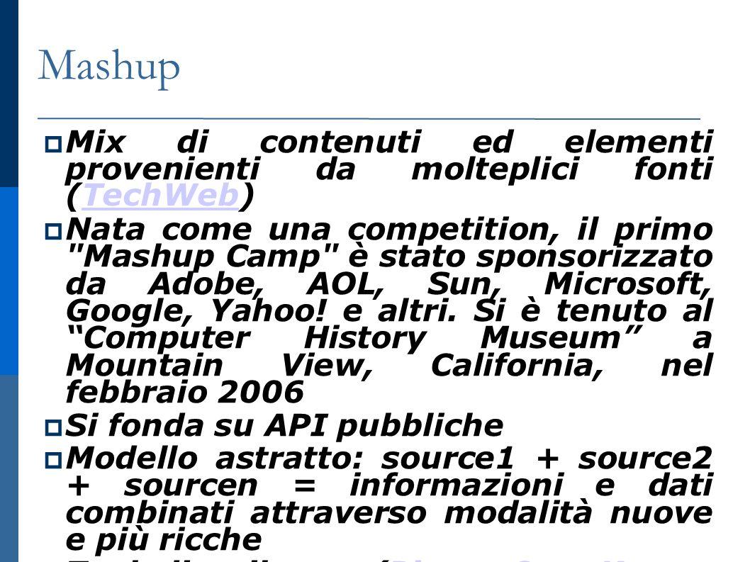 Mashup Mix di contenuti ed elementi provenienti da molteplici fonti (TechWeb) TechWeb Nata come una competition, il primo Mashup Camp è stato sponsorizzato da Adobe, AOL, Sun, Microsoft, Google, Yahoo.