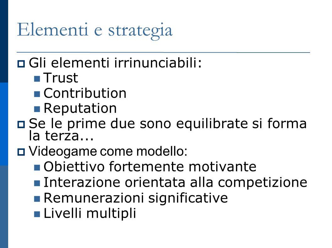 Elementi e strategia Gli elementi irrinunciabili: Trust Contribution Reputation Se le prime due sono equilibrate si forma la terza...