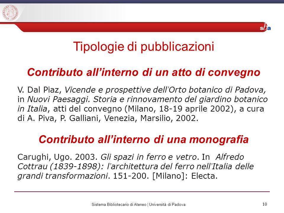 10 Sistema Bibliotecario di Ateneo | Università di Padova 10 Tipologie di pubblicazioni Contributo allinterno di un atto di convegno V. Dal Piaz, Vice