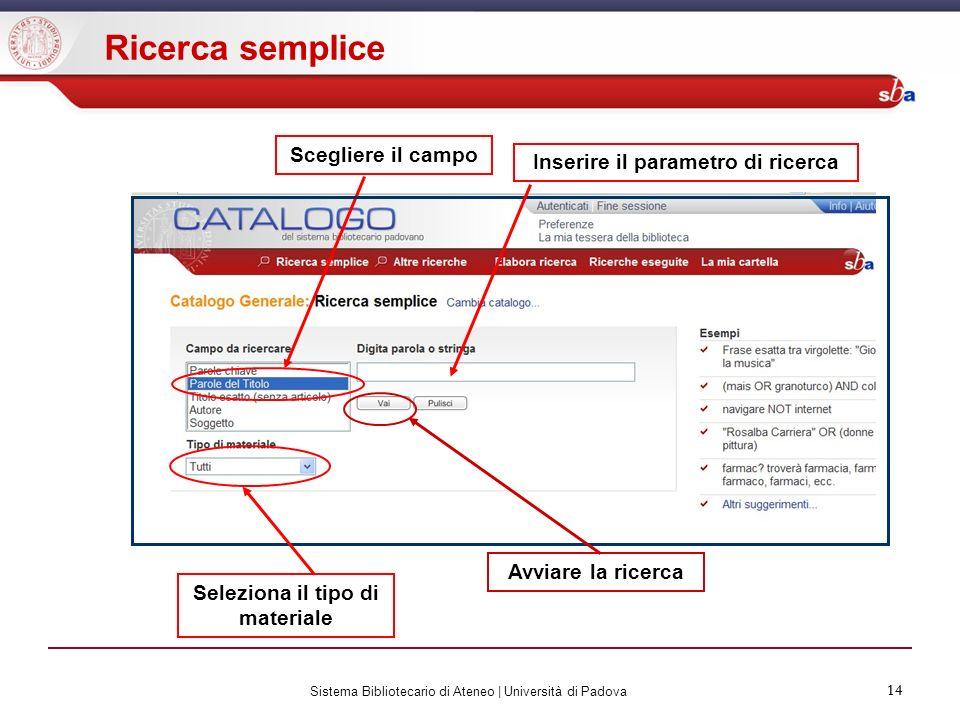 14 Sistema Bibliotecario di Ateneo | Università di Padova 14 Ricerca semplice Scegliere il campo Avviare la ricerca Inserire il parametro di ricerca S