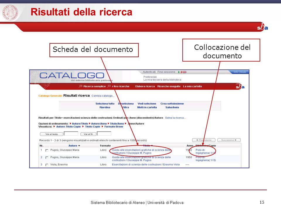 15 Sistema Bibliotecario di Ateneo | Università di Padova 15 Risultati della ricerca Scheda del documento Collocazione del documento