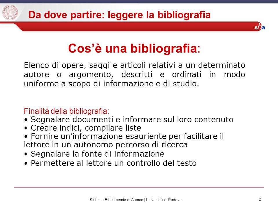 3 Sistema Bibliotecario di Ateneo | Università di Padova 3 Cosè una bibliografia: Elenco di opere, saggi e articoli relativi a un determinato autore o