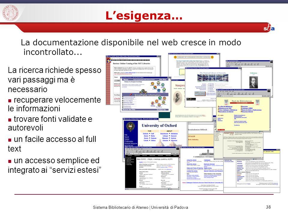 38 Sistema Bibliotecario di Ateneo | Università di Padova 38 La ricerca richiede spesso vari passaggi ma è necessario recuperare velocemente le inform