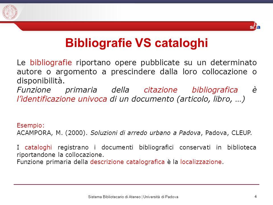 4 Sistema Bibliotecario di Ateneo | Università di Padova 4 Bibliografie VS cataloghi Le bibliografie riportano opere pubblicate su un determinato auto