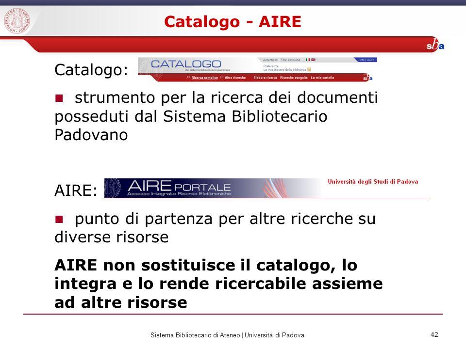 42 Sistema Bibliotecario di Ateneo | Università di Padova 42 Catalogo - AIRE Catalogo: strumento per la ricerca dei documenti posseduti dal Sistema Bi