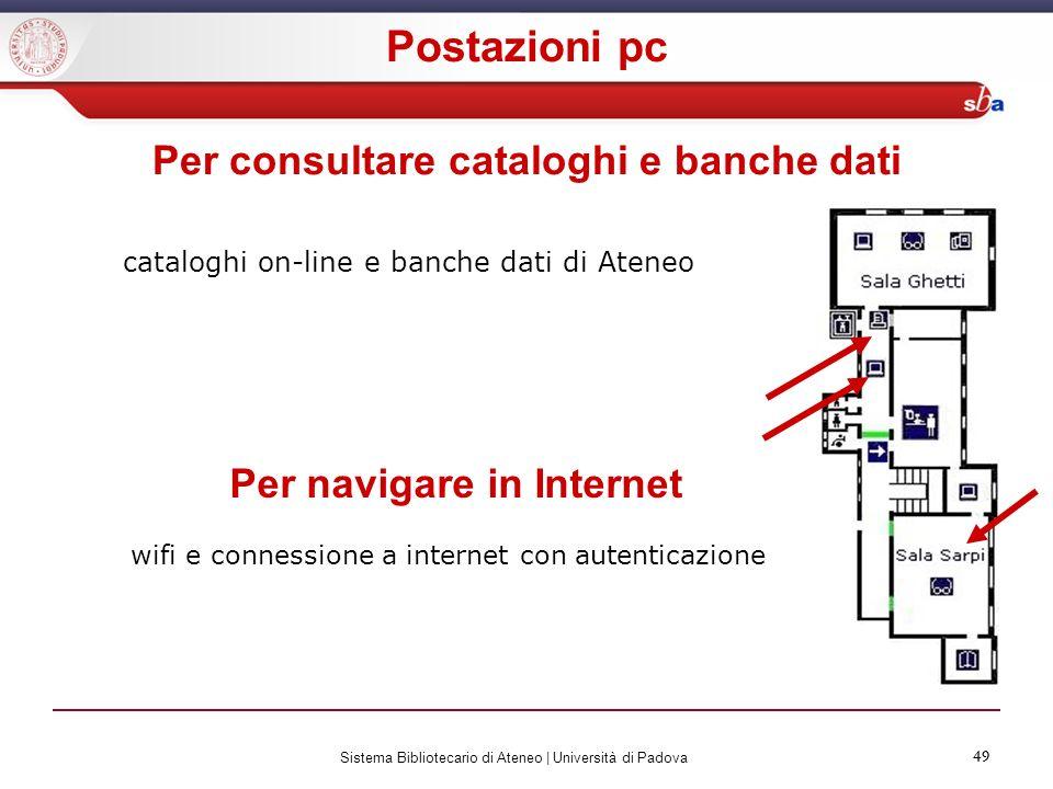49 Sistema Bibliotecario di Ateneo | Università di Padova 49 cataloghi on-line e banche dati di Ateneo Per consultare cataloghi e banche dati Per navi
