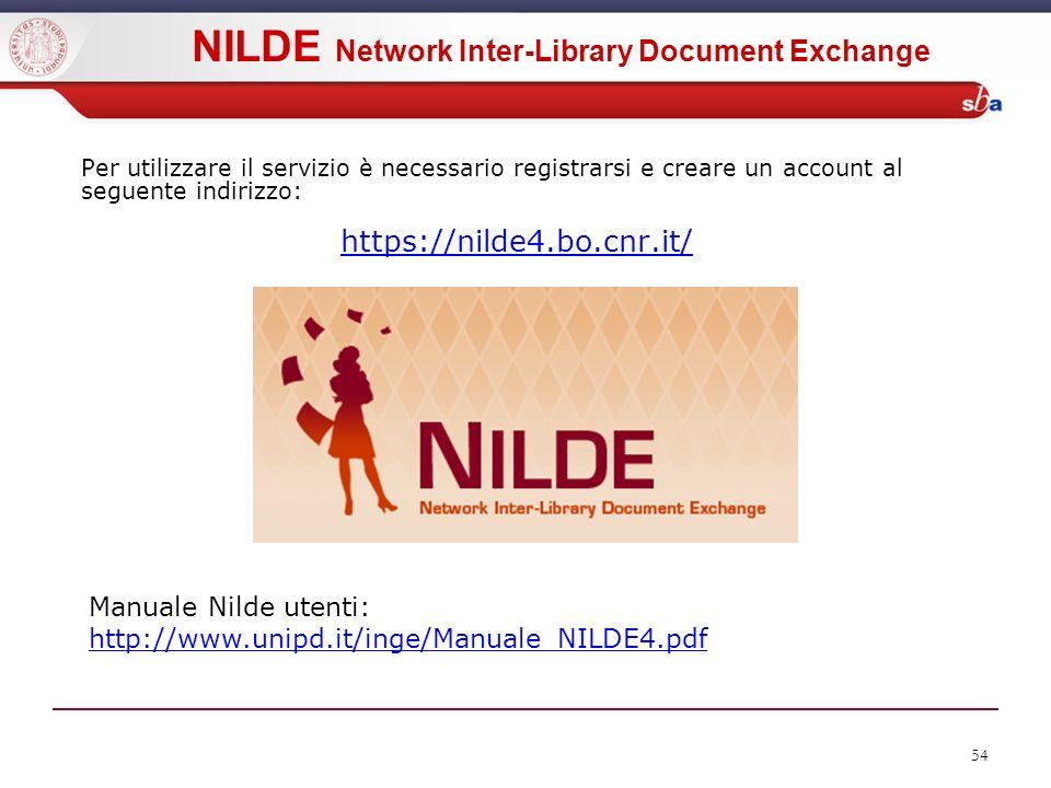 54 Per utilizzare il servizio è necessario registrarsi e creare un account al seguente indirizzo: https://nilde4.bo.cnr.it/ Manuale Nilde utenti: http