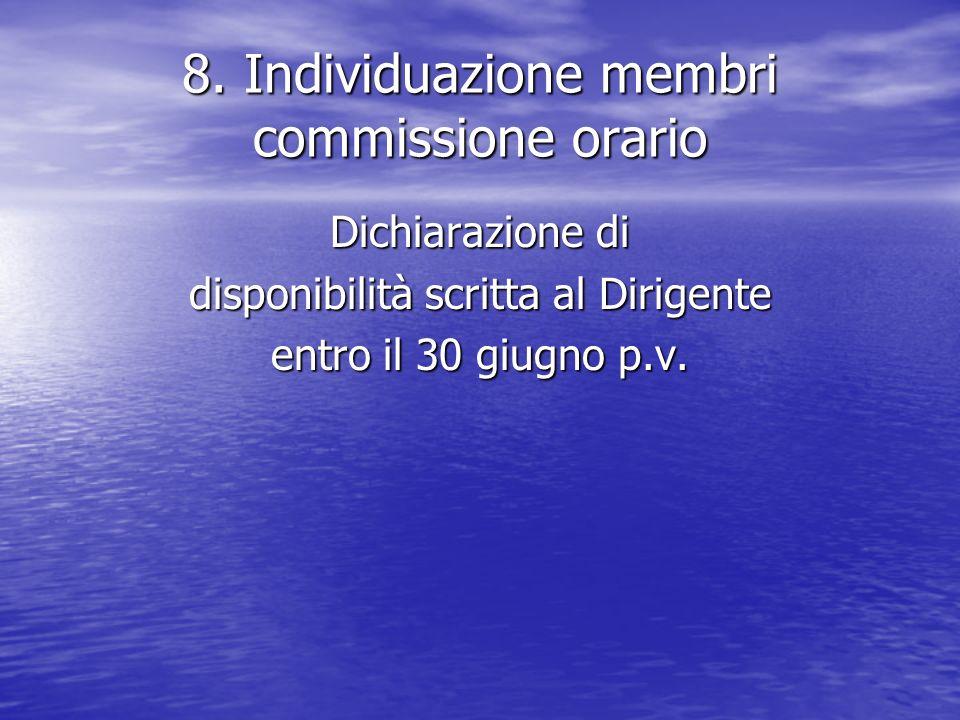 8. Individuazione membri commissione orario Dichiarazione di disponibilità scritta al Dirigente entro il 30 giugno p.v.