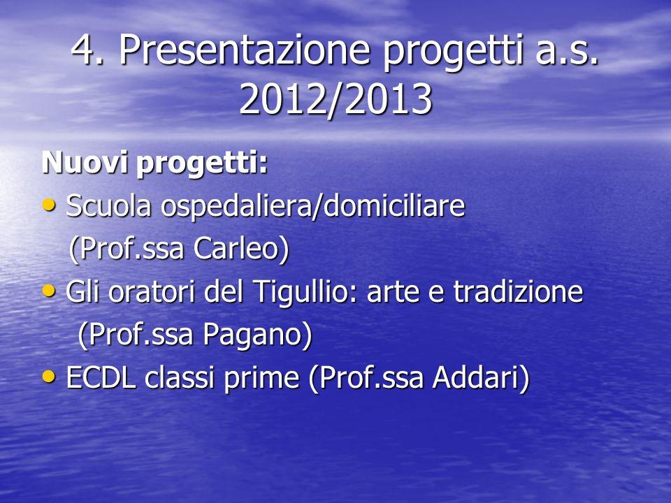 4. Presentazione progetti a.s.