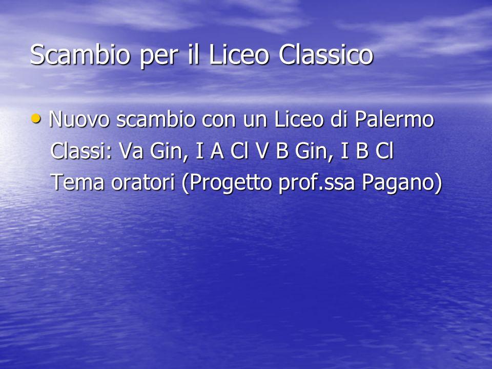 Scambio per il Liceo Classico Nuovo scambio con un Liceo di Palermo Nuovo scambio con un Liceo di Palermo Classi: Va Gin, I A Cl V B Gin, I B Cl Classi: Va Gin, I A Cl V B Gin, I B Cl Tema oratori (Progetto prof.ssa Pagano) Tema oratori (Progetto prof.ssa Pagano)