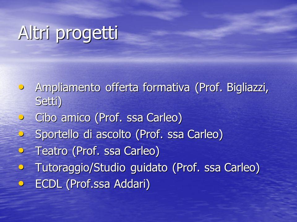 Altri progetti Ampliamento offerta formativa (Prof.