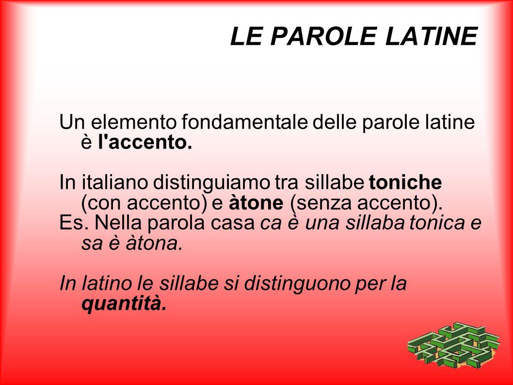 LE PAROLE LATINE Un elemento fondamentale delle parole latine è l'accento. In italiano distinguiamo tra sillabe toniche (con accento) e àtone (senza a