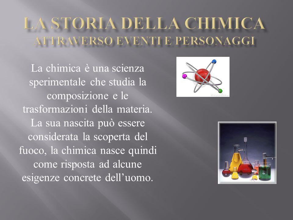 La chimica è una scienza sperimentale che studia la composizione e le trasformazioni della materia. La sua nascita può essere considerata la scoperta