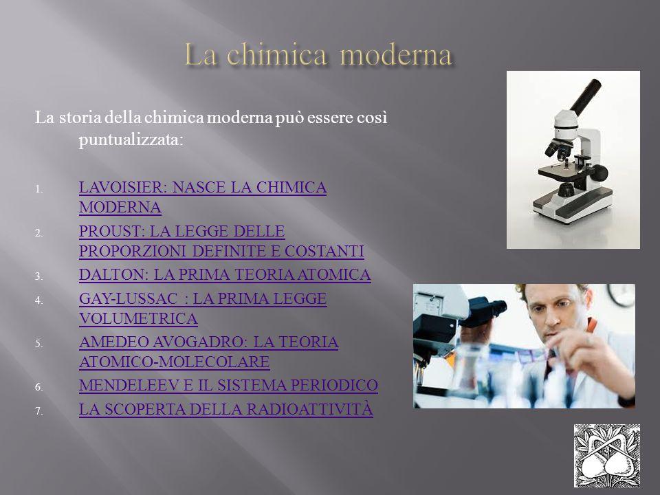 La storia della chimica moderna può essere così puntualizzata: 1. LAVOISIER: NASCE LA CHIMICA MODERNA LAVOISIER: NASCE LA CHIMICA MODERNA 2. PROUST: L