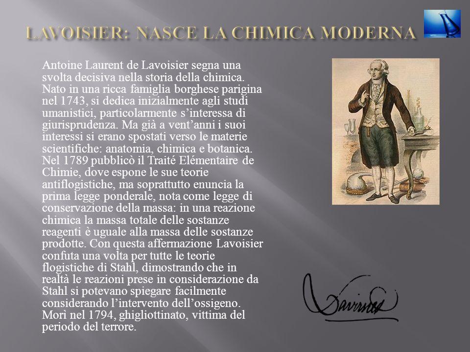 Antoine Laurent de Lavoisier segna una svolta decisiva nella storia della chimica. Nato in una ricca famiglia borghese parigina nel 1743, si dedica in