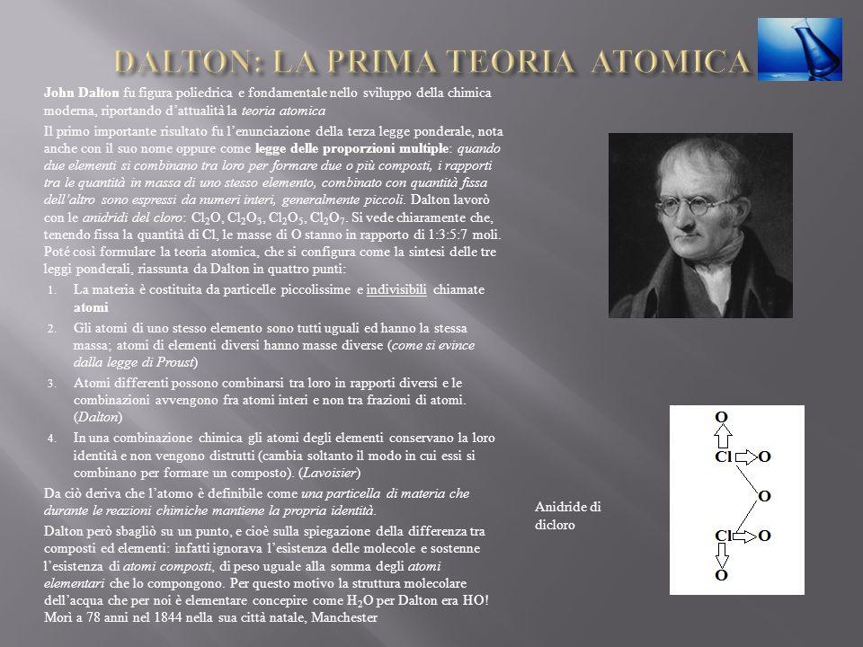 John Dalton fu figura poliedrica e fondamentale nello sviluppo della chimica moderna, riportando dattualità la teoria atomica Il primo importante risu