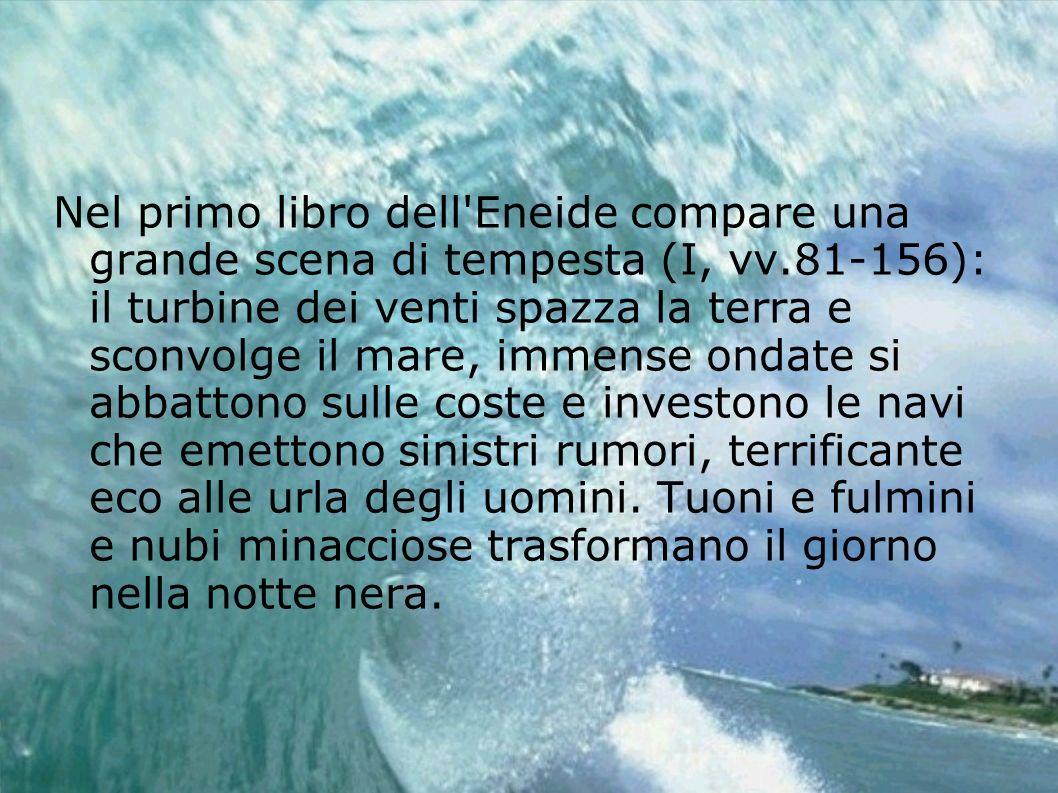 Nel primo libro dell'Eneide compare una grande scena di tempesta (I, vv.81-156): il turbine dei venti spazza la terra e sconvolge il mare, immense ond