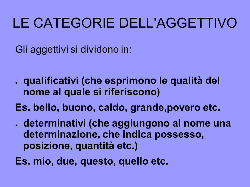 LE CATEGORIE DELL'AGGETTIVO Gli aggettivi si dividono in: qualificativi (che esprimono le qualità del nome al quale si riferiscono) Es. bello, buono,