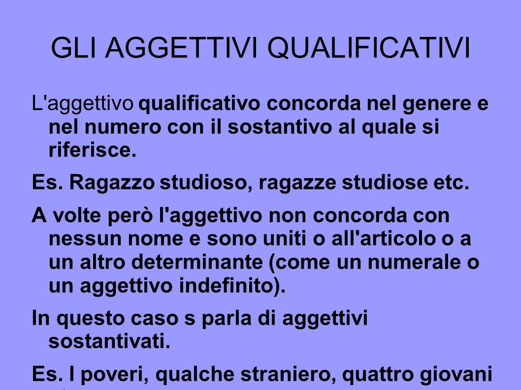 GLI AGGETTIVI INTERROGATIVI Gli aggettivi interrogativi servono a domandare la quantità, la qualità, l identità del sostantivo cui si riferiscono.