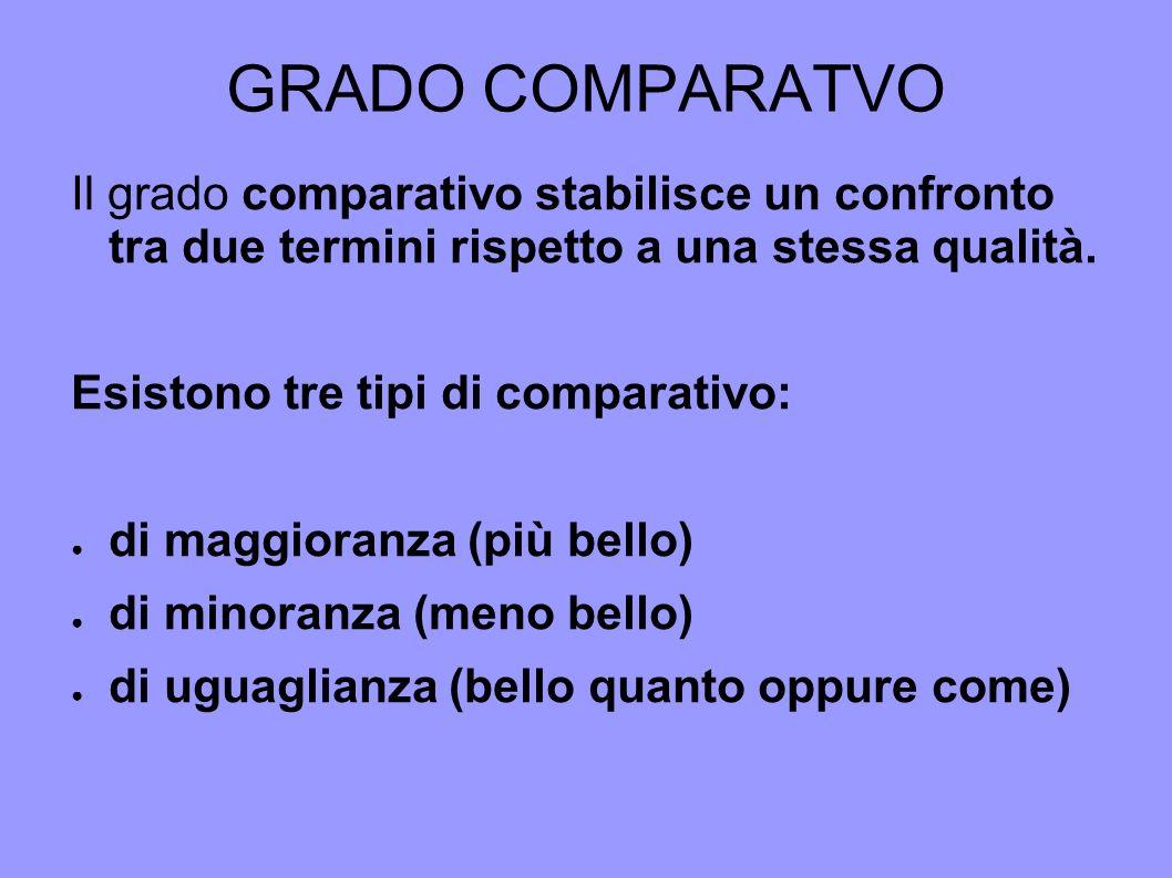 GRADO COMPARATVO Il grado comparativo stabilisce un confronto tra due termini rispetto a una stessa qualità. Esistono tre tipi di comparativo: di magg